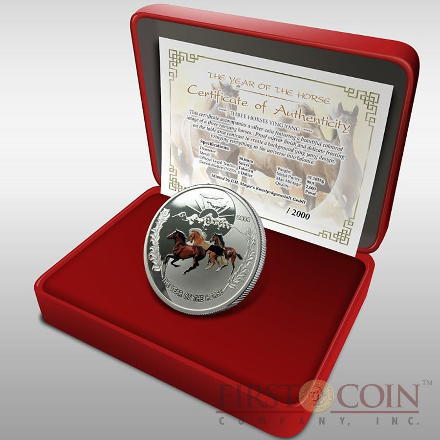 Tokelau Three Horses Yin Yang 38.61 mm Year of the Horse $1 Colored Silver Coin Proof 1 oz 2014