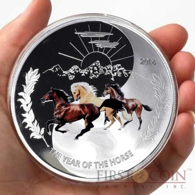 Tokelau Three Horses Yin Yang 65 mm Year of the Horse $1 Colored Silver Coin Proof 1 oz 2014