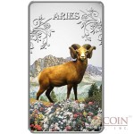 Cook Islands Aries $1 Zodiac Signs series Colored Silver Rectangular coin Proof 2014