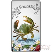 Cook Islands Cancer $1 Zodiac Signs series Colored Silver Rectangular coin Proof 2014