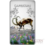 Cook Islands Capricorn $1 Zodiac Signs series Colored Silver Rectangular coin Proof 2014