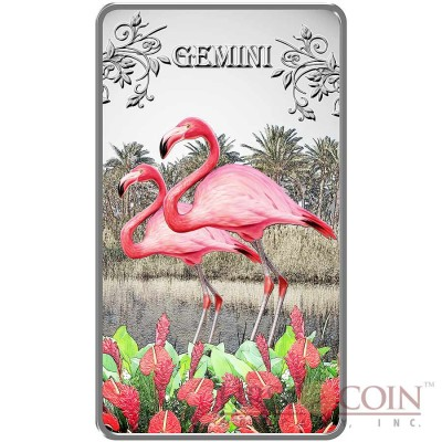 Cook Islands Gemini $1 Zodiac Signs series Colored Silver Rectangular coin Proof 2014