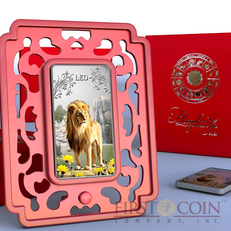 Cook Islands Leo $1 Zodiac Signs series Colored Silver Rectangular coin Proof 2014