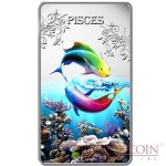 Cook Islands Pisces $1 Zodiac Signs series Colored Silver Rectangular coin Proof 2014
