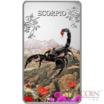 Cook Islands Scorpio $1 Zodiac Signs series Colored Silver Rectangular coin Proof 2014