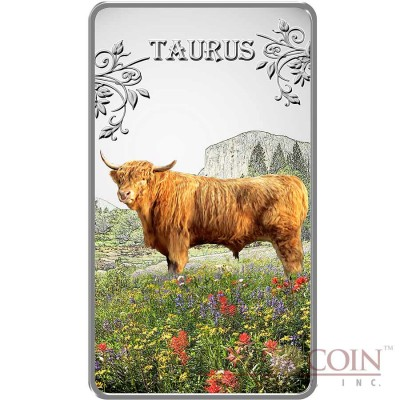 Cook Islands Taurus $1 Zodiac Signs series Colored Silver Rectangular coin Proof 2014