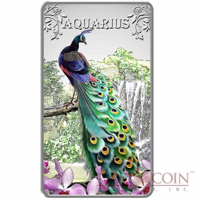 Cook Islands Aquarius $1 Zodiac Signs series Colored Silver Rectangular coin Proof 2014