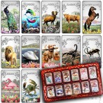 Cook Islands Zodiac Sings $12 Twelve Colored Silver Rectangular coin set ~ 8 oz Proof 2014