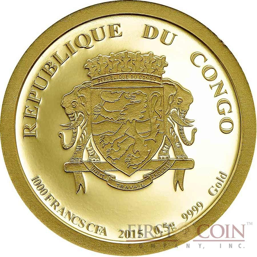 Congo BIG HORNED RAM 5 Francs Gold Coin 2015 Proof