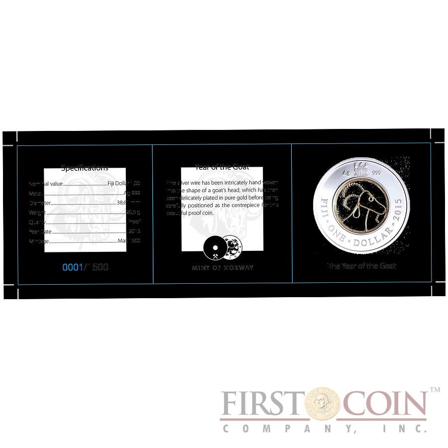 Fiji YEAR OF THE GOAT $1 Filigree insert Series LUNAR CHINESEE CALENDAR 2015 Silver Coin Proof