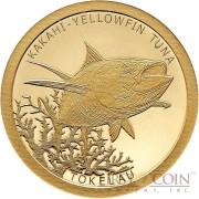 Tokelau KAKAHI YELLOWFIN TUNA $5 Gold Coin 2015 Proof