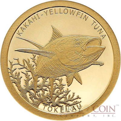 Tokelau KAKAHI YELLOWFIN TUNA $5 Gold Coin 2015 Proof