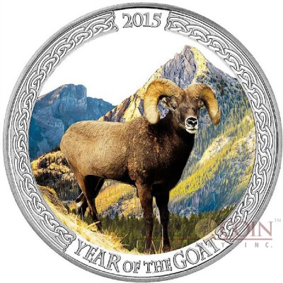 Tokelau YEAR OF THE GOAT MOUNTAIN GOAT $5 Silver Coin 2015 Proof 1 oz