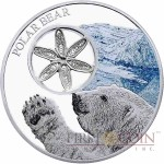 Tokelau POLAR BEAR SNOWFLAKE $1 Silver Coin Filigree element Colored Proof 1 oz 2015