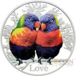 Tokelau LOVE RAINBOW LORIKEETS $5 Silver Coin 2015 Proof 1 oz