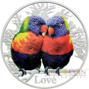 Tokelau LOVE RAINBOW LORIKEETS $5 Silver Coin 2015 Proof 1 oz