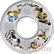 Tokelau YEAR OF THE GOAT ELEMENTAL GOATS $10 Silver Coin 2015 Proof 2 oz