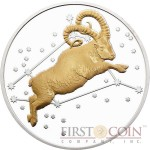 Tokelau ARIES $5 Creatures of Myth & Legend series Silver Coin Year of the Goat Gilded Proof 1 oz 2015