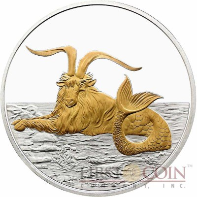 Tokelau Capricornus $5 Creatures of Myth & Legend series Silver Coin Year of the Goat Gilded Proof 1 oz 2015
