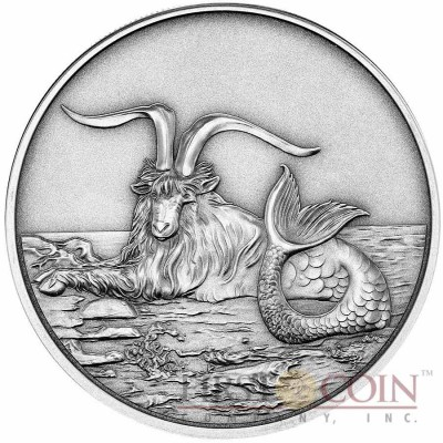 Tokelau Capricornus $5 Creatures of Myth & Legend series Silver Coin Year of the Goat Antique Finish 1 oz 2015