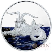 Tokelau Capricornus $5 Creatures of Myth & Legend series Silver Coin Year of the Goat Colored Proof 1 oz 2015