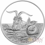 Tokelau Capricornus $5 Creatures of Myth & Legend series Silver Coin Year of the Goat Proof 1 oz 2015