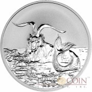 Tokelau Capricornus $5 Creatures of Myth & Legend series Silver Coin Year of the Goat Reverse Proof 1 oz 2015