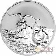 Tokelau Capricornus $5 Creatures of Myth & Legend series Silver Coin Year of the Goat Reverse Proof 1 oz 2015