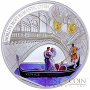 Cook Islands Venice $1 The World's Most Romantic Cities series Gilded High Relief Colored Silver coin Proof 2013
