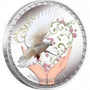 Tokelau Enduring Love White Dove $5 Colored Silver Coin Proof 2012
