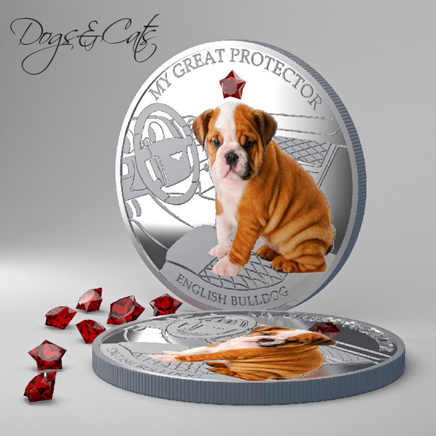 Fiji MY GREAT PROTECTOR - ENGLISH BULLDOG DOG $2 Silver Coin 2013 Gem inlay Proof 1 oz