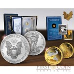 USA American Eagle 25th Anniversary Two сoin Set Gold 1/10oz 2011 Platinum plated & Silver 1oz 1986