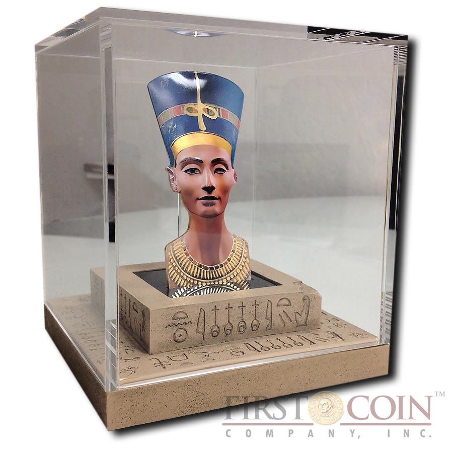 Solomon Islands Nefertiti 3D Sculptures of Art Egypt Queen 3 oz $25 Silver coin 2013