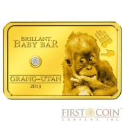 Niue Orangutan Brilliant Baby Bar $5 Gold coin White Diamond 2013 Proof