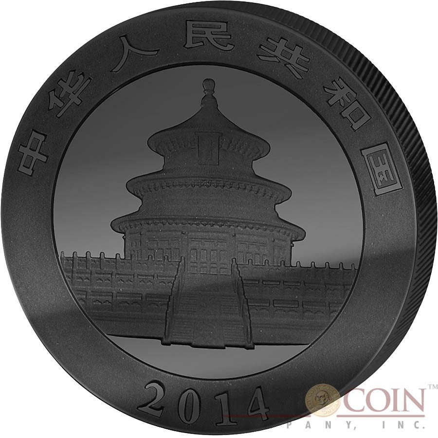 China Chinese Panda Silver Coin ¥10 Yuan GOLDEN ENIGMA EDITION series Black Ruthenium & Gold Plated Silver coin 1 oz 2014