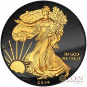USA American Silver Eagle GOLDEN ENIGMA EDITION Black Ruthenium & Gold Plated WALKING LIBERTY 1oz 2014