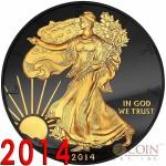 USA American Silver Eagle GOLDEN ENIGMA EDITION Black Ruthenium & Gold Plated WALKING LIBERTY 1oz 2014