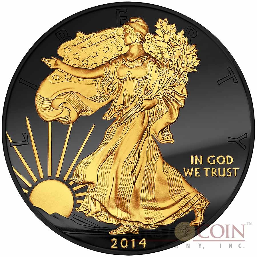 Usa American Silver Eagle Golden Enigma Edition Black