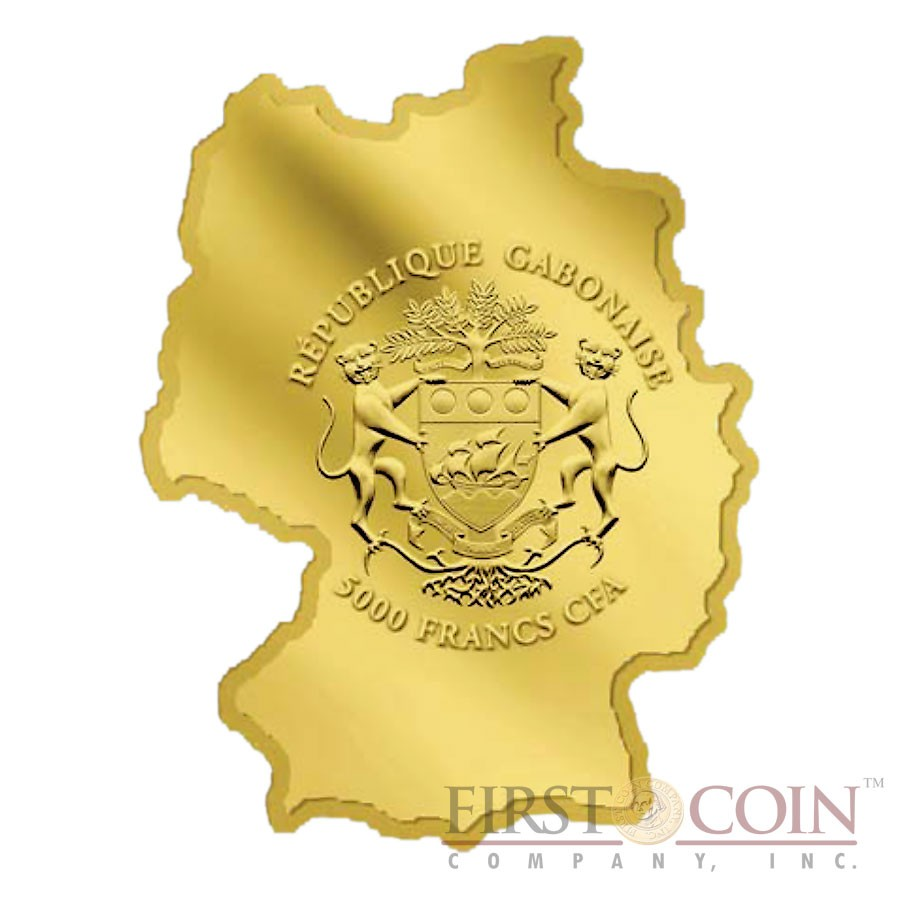 Gabon 25 Years Fall of the Wall Berlin 5000 Francs Gold coin Germany Map Shaped Swarovski Proof 2014