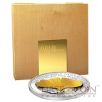 Samoa 3D Gold Ginkgo Leaf $10 Gold Leaves series Silver Coin & Gold Foil Proof 1 oz 2014