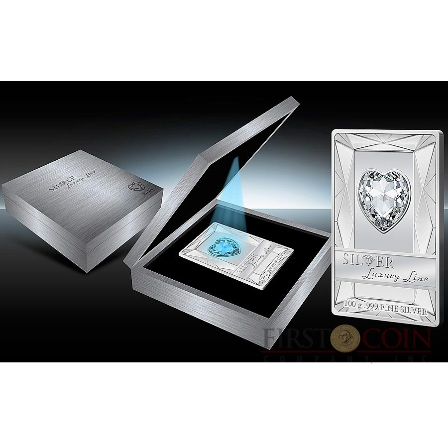 Cook Islands BLUE HEART $20 Silver Luxury Line series Edition 3 Swarovski crystal 100g Proof 2014