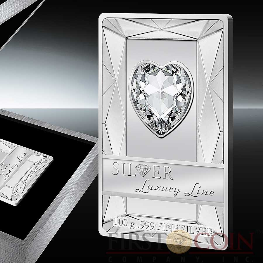 Cook Islands PINK HEART $20 Silver Luxury Line series Edition 3 Swarovski crystal 100g Proof 2014