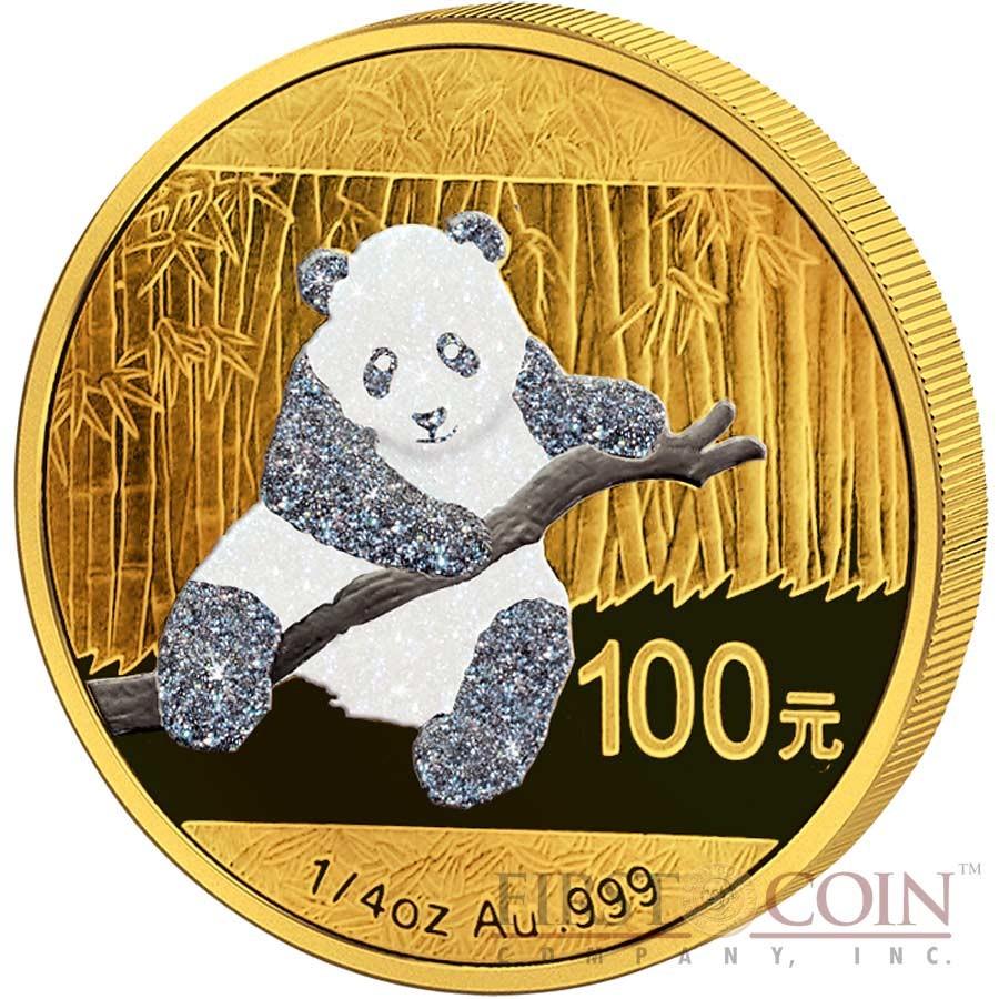 China Diamond Edition Panda Premium Prestige Two Coin Set 110 Yuan colored Diamond Application Gold & Silver coins 2015