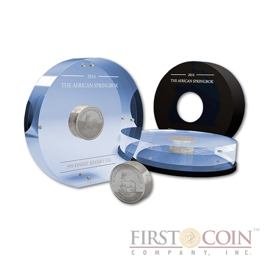 Gabon The African Springbok Smick Ounce series 1000 Francs Silver Coin 2014 Proof-like 1 oz