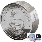 Gabon The African Springbok Smick Ounce series 1000 Francs Silver Coin 2014 Proof-like 1 oz
