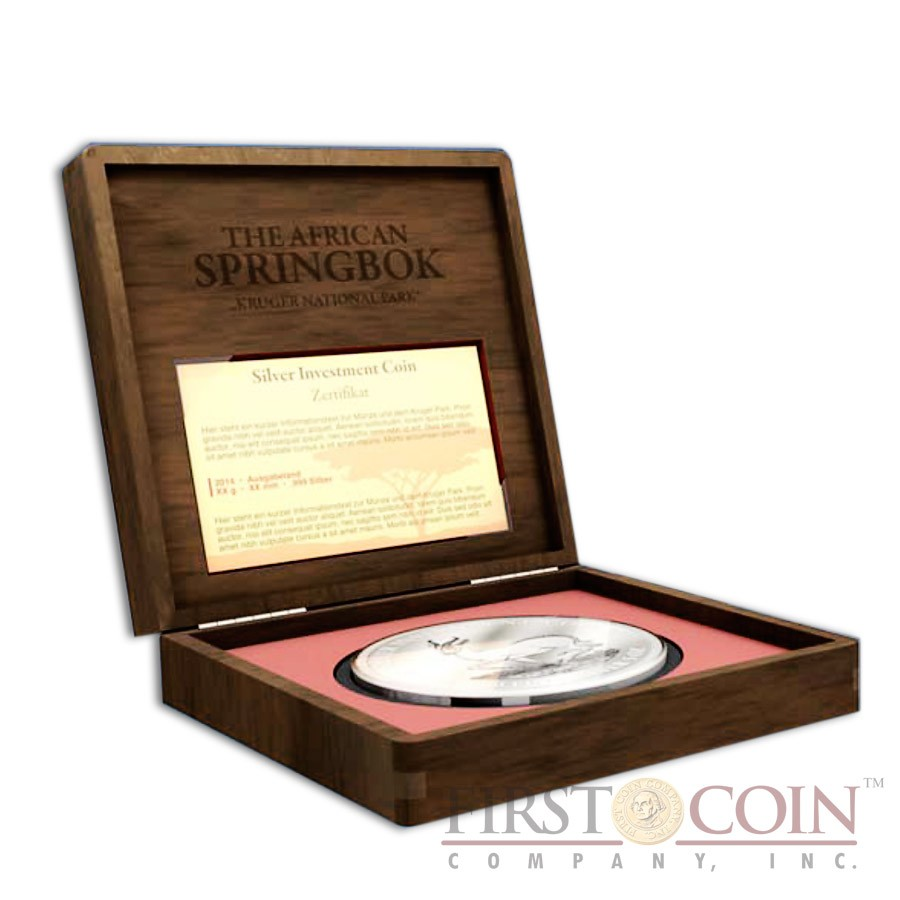 Gabon The African Springbok Silver Coin 3000 Francs Micro Engraving Proof Antique Finish 5 oz 2014
