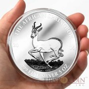 Gabon The African Springbok Silver Coin 3000 Francs Micro Engraving Proof Antique Finish 5 oz 2014