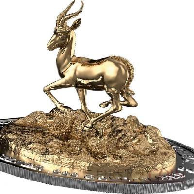 Gabon Springbok 3D Full  Dimensional Minting Silver coin 2000 Francs Brilliant Uncirculated 3 oz 2014