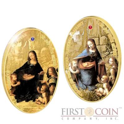 Ascension Island Leonardo da Vinci Virgin of the Rocks The Jewels of Art series 2 Crown Gilded Silver two coin set Gem Stones Colored Oval Shape Proof 2 oz  2014