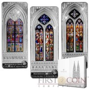 Cook Islands COLOGNE CATHEDRAL $60 Premium Giant Edition Windows of Heaven series Giant Three Silver Coin set Colored Window 2014 Proof-like 9 oz